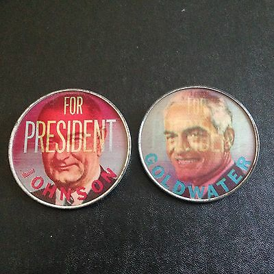 Lyndon Johnson and Barry Goldwater metal flashers.