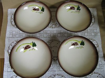 Brock Of California Footed Bowls Brown Edged