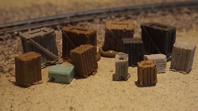 N-scale 12pc Unfinished Crates 1:160 Model Train Detail /Detail Parts