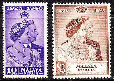 Malaya Perlis KGVI 1948 Royal Silver Wedding SG1/2 Very Fine MNH Set