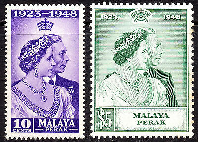 Malaya Perak KGVI 1948 Royal Silver Wedding SG122/123 Very Fine MNH Set