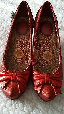 Miss L Fire Red Glitter 40s style  dorothy/ dance  shoes.