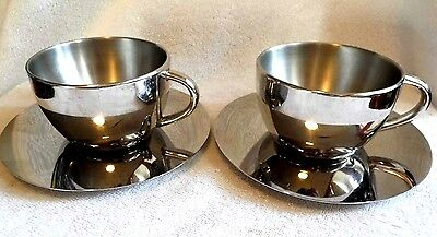 Vintage Stainless Steel Coffee Set  - 2 x Cup and Saucer