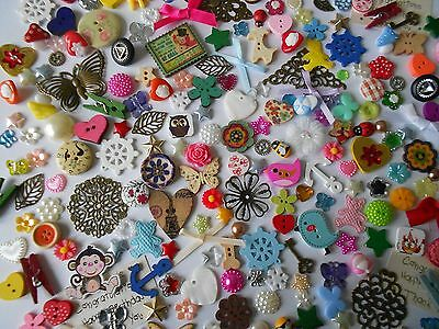 ASSORTED  EMBELLISHMENTS  50g BUTTONS BOWS HEARTS FLOWERS STARS BUTTERFLIES