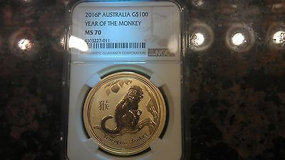 2016 AUSTRALIA GOLD  1 oz  $100 LUNAR MONKEY SERIES TWO - NGC MS70