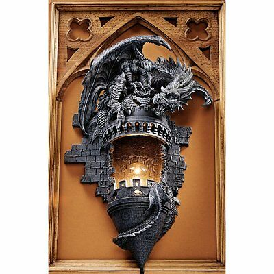 Dragon Castle Statue Wall Hanging Sculpture Medieval Halloween Gothic Decor Art