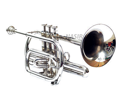 Cornet For Sale Chrome Polished Nickel Plated With Free Hardcase + Mouthpiece