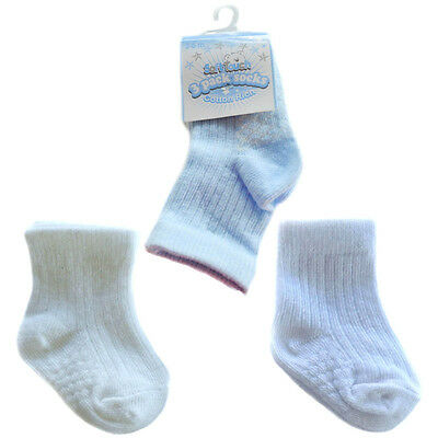 3 Pairs Boys Ribbed Socks  Blue/white/cream 0-3,3-6,6-12 Mths Soft Touch