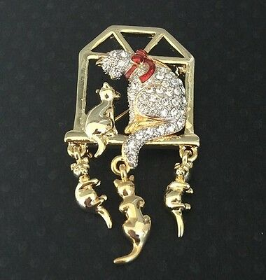 Vintage Adorable Cats In Window In Gold Tone With Crystals Brooch