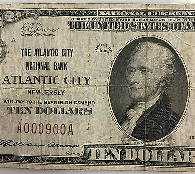 1929 Atlantic City New Jersey $10 National Bank Note Ch #2527 Low Serial # PM-85