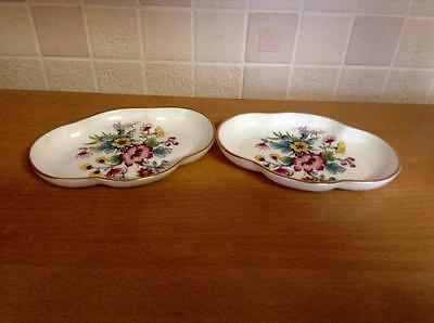 "Pair Of Coalport Bone China "" Ming Rose "" Oval Trinket / Pin Dishes"