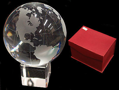 Solid Etched Glass ATLAS GLOBE, 75 mm diameter, Glass Stand, Boxed, 103746TG