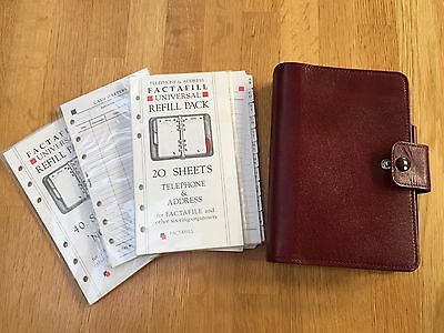 Maroon Leather Microfile Personal Organiser + Factafill Refill Pages 13cm X 19cm