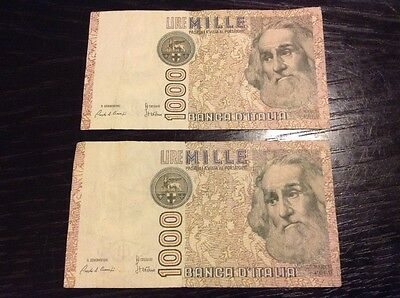 Italy Paper Money 1000 Lire 1982 2 Notes