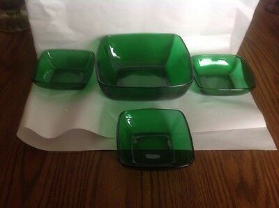 Vintage 4pc Anchor Hocking Forest Green Master Berry Bowl Set Chip & Dip