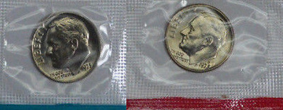 50-coins BU Roosevelt Dime 1973 PD Roll in Mint Cello Lot