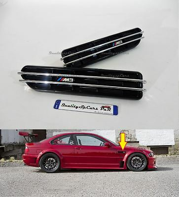 2 GRIGLIE laterali BMW serie 3 ADESIVE logo M3 sport air flow vents PRESE ARIA