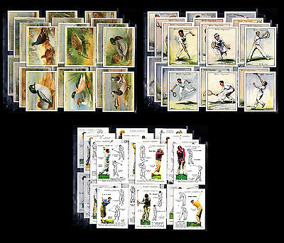 Lot Of 3 Full Mint Sets Cigarette Cards In Sleeves - Golf Birds Tennis