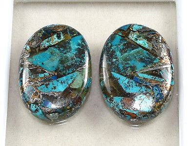 Lovely Pair  ! 29.70 Cts. Natural  Silver  Azurite  Oval Cab For  Earrings