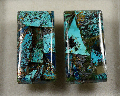 Lovely Pair  !  19.25 Cts. Natural Silver Azurite  Cushion  Cab For  Earrings