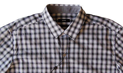 f9ce83ef Men's HUGO BOSS White Black Plaid Shirt S Small NWT NEW Sharp Fit ROBBIE  Cool!
