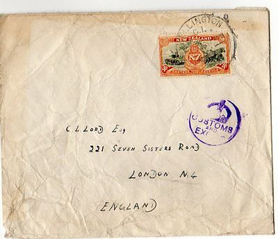 New Zealand: 1946 cover Wellington to London with customs cachet