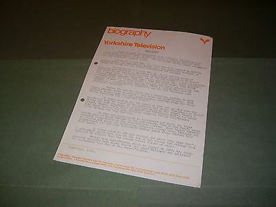 Rare Sid Colin 1970 Yorkshire TV Head of Light Entertainment Press Release