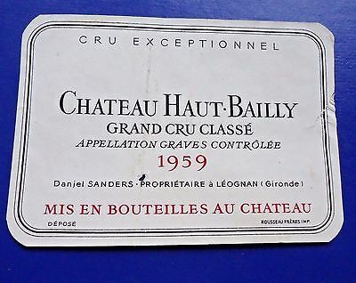 Wine Label 1959 Chateau Haut-Bailly Grand Cru Classe RARE