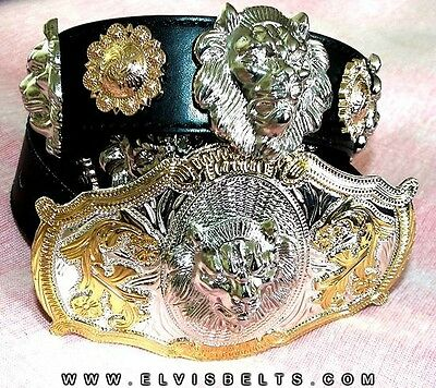 Elvis Style Gold and Silver Lion Head Western Concho Belt