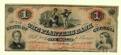 1860 $1 Planters Bank of the State of GEORGIA colorful!