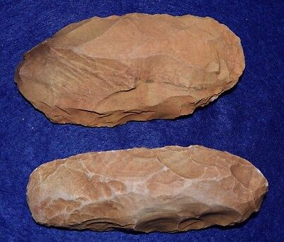 """2 large (4+"""") flint stone celts from the Sahara Neolithic"""