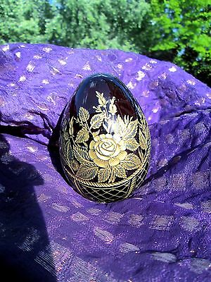 Ruby Red Glass Crystal Gold Encrusted Baroque Roses Egg St Petersburg Russia