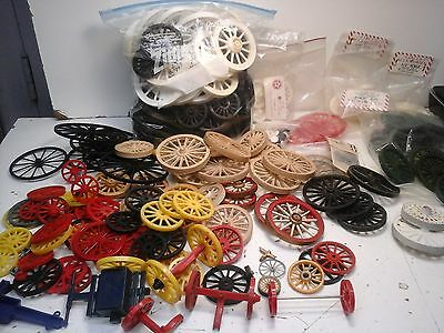 Huge Lot of Circus Wagon Wheels/Baggage/Plain/all sizes/plastic/ceramic/~150pcs