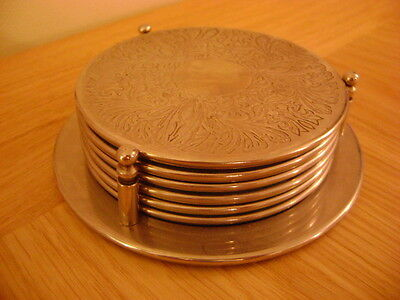 Retro Set Of 6 Metal Coasters With Holder For Coaster Or Wine Bottle