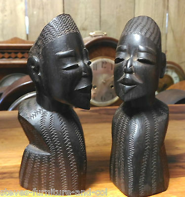 2 Hardwood African Ethnic Tribal Carved Heads/busts  -- Free Uk Post