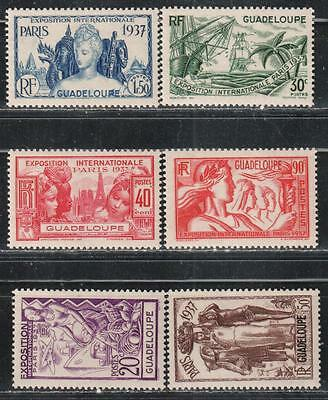 1937 French colony stamps, Guadeloupe, full set MH, SC 148-53