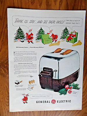 1950 GE General Electric Automatic Toaster Ad  Christmas Theme
