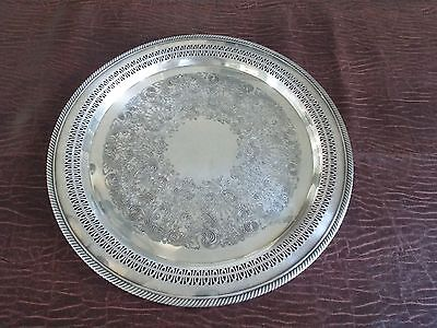 "Vintage WM Rogers Silver Plate Serving Tray #172 115"" ""Round Braided edge Pierce"