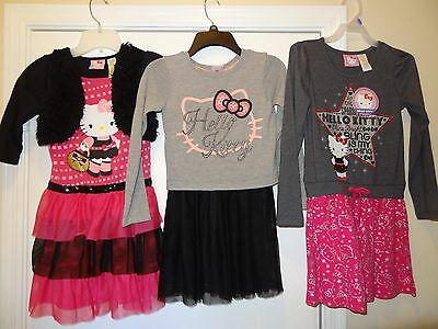 Lot of 3 Hello Kitty Bodice Dresses Girl's Size M 7/8