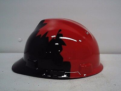 NEW  Safety Works    Black and Red Canadian Maple Leaf Pattern Hard Hat