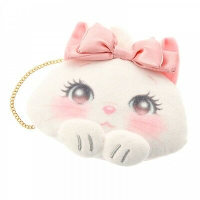 Disney Store Japan Marie Cat Pink Bow Lovely Plush Coin Purse Case w/ Chain