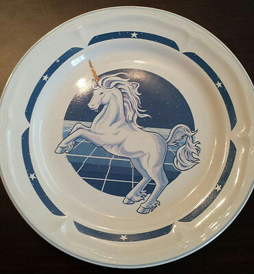 "10.5 "" dinner plate -tienshan stonware fantasy unicorn pattern -discontinued"