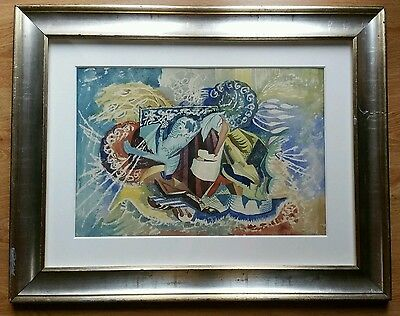 Modern 1950s Abstract Original Watercolour Painting Signed Terry Frost 1954