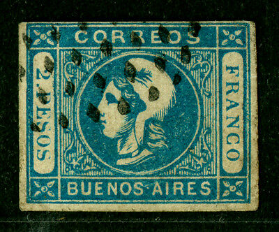 ARGENTINA 1859 Buenos Aires -LIBERTY HEAD 2p blue  Sc# 12 used Fine