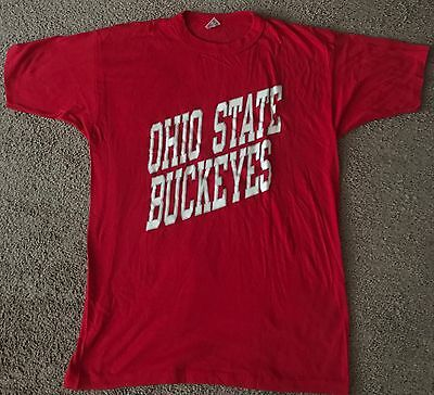 Vintage 80s Ohio State Buckeyes Red Graphic Champion Cotton Blend T Shirt Sz L