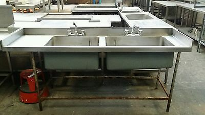 Double Bowl Commercial Stainless Steel Sink - With Taps