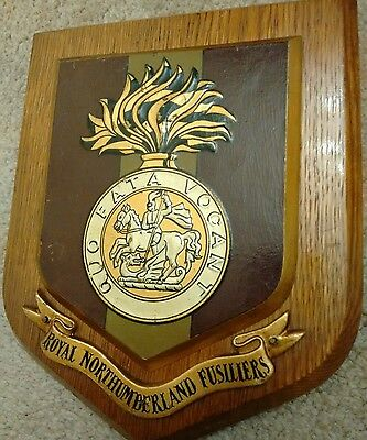 Vintage Large ROYAL NORTHUMBERLAND FUSILIERS  hand Painted Wall Plaque shield