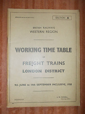 BR WR WTT Sect A (Freight), 9 Jun to 14 Sep 58