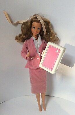 Barbie Retro Doll Pink Clothes With Suitcase