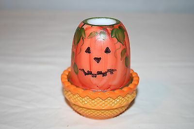 Jack-O-Lantern Fall Scene 2-Part Fairy Lamp Mosser Glass